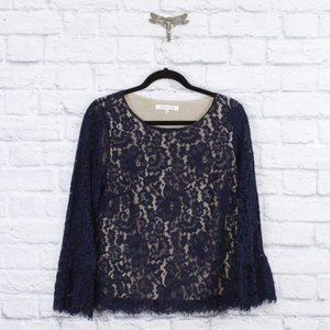 ROSE+OLIVE Lace High Neck Flare Arms Shirt Top M